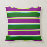 [ Thumbnail: Green, Yellow, Purple, Dark Green & Light Sky Blue Throw Pillow ]