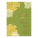 Green & Yellow Queen Annes Lace Wedding Invitation