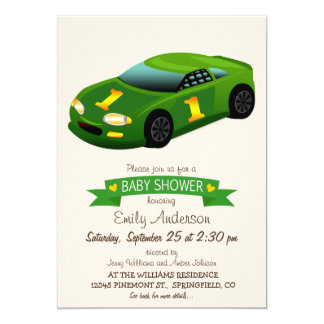 Green & Yellow Race Car Baby Shower 5x7 Paper Invitation Card