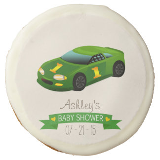 Green & Yellow Race Car Baby Shower Sugar Cookie