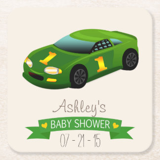 Green & Yellow Race Car Baby Shower Square Paper Coaster