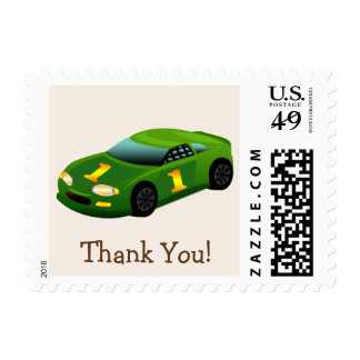 Green & Yellow Race Car Thank You Postage