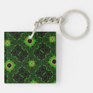 green yellow random pattern keychain