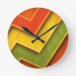 Green Yellow Red Corners Wall Clock