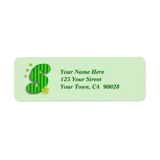 green yellow S monogram Return Address Labels