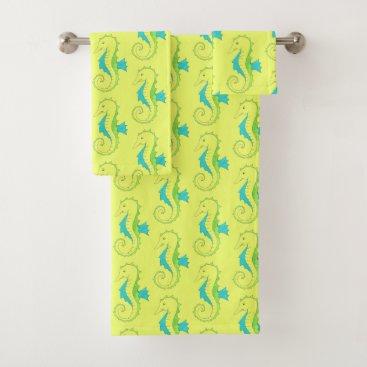 Beach Themed Green Yellow Seahorse Sea Horse Beach Ocean Animal Bath Towel Set