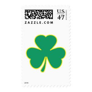 green yellow shamrock postage