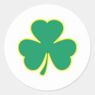 green yellow shamrock classic round sticker