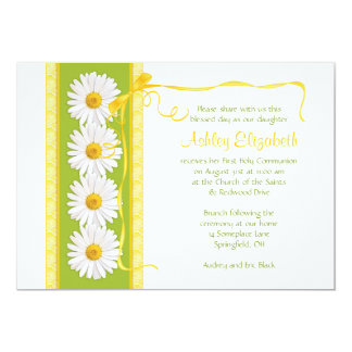 Green Yellow Shasta Daisy Communion Invitation