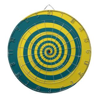 Green yellow spiral dart board