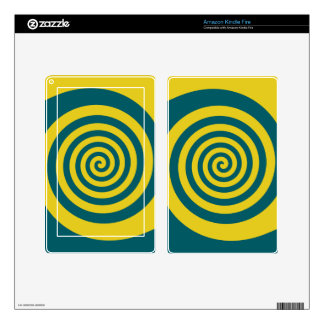 Green yellow spiral kindle fire decal