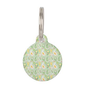 Green & Yellow Spring Paisley Pet ID Tag