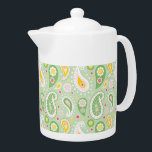 """Green &amp; Yellow Spring Paisley Teapot<br><div class=""""desc"""">For the flower child in you - fun floral paisley in Spring green with yellow accents. Graphics by Lilly Bimble.</div>"""
