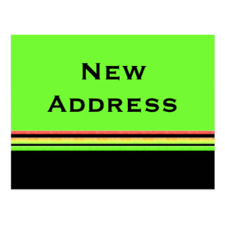 green yellow stripes New Address Postcard