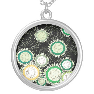 Green & Yellow Sunflowers Round Pendant Necklace