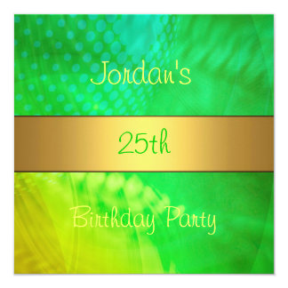 Green Yellow Swirl Gold 25th Birthday Party 5.25x5.25 Square Paper Invitation Card