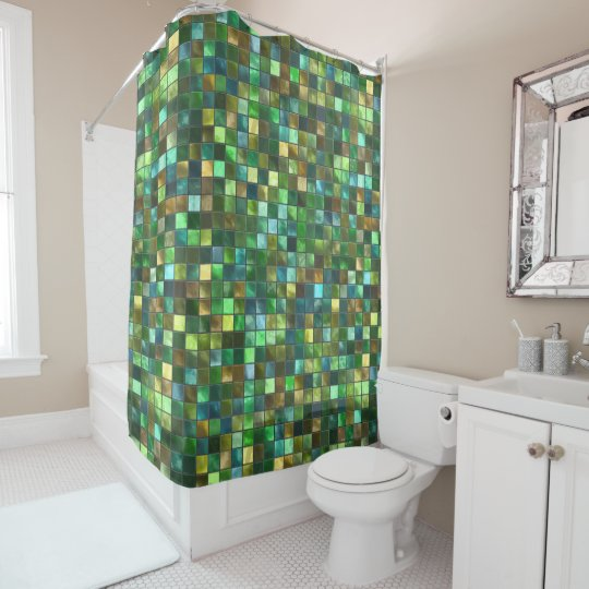 Green Yellow Tiled Abstract Square Pattern Mosaic Shower Curtain ...