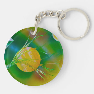 green yellow tree pyramid spacepainting Double-Sided round acrylic keychain