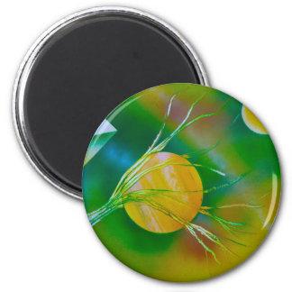 green yellow tree pyramid spacepainting refrigerator magnets