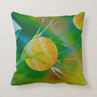 green yellow tree pyramid spacepainting throw pillow