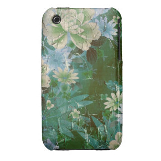 Green Yellow Vintage Flowers iPhone 3 Case