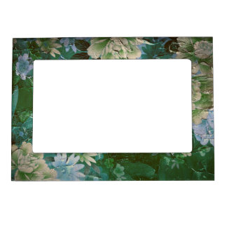 Green Yellow Vintage Flowers Magnetic Photo Frame