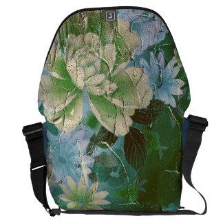 Green Yellow Vintage Flowers Messenger Bag