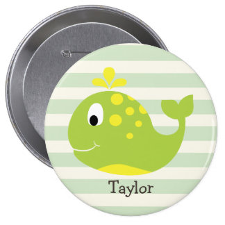 Green & Yellow Whale on Pastel Green Stripes 4 Inch Round Button