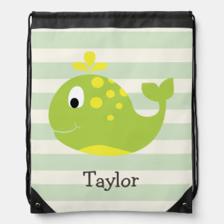 Green & Yellow Whale on Pastel Green Stripes Drawstring Backpack