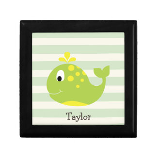 Green & Yellow Whale on Pastel Green Stripes Jewelry Boxes