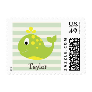 Green & Yellow Whale on Pastel Green Stripes Postage Stamp