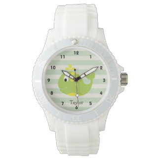 Green & Yellow Whale on Pastel Green Stripes Watch