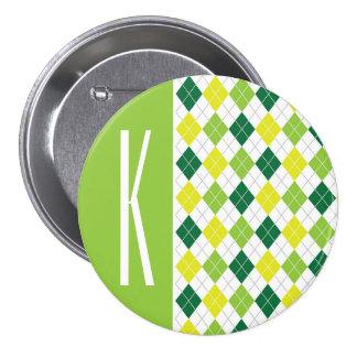 Green, Yellow, & White Argyle Pin
