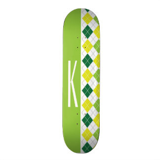 Green, Yellow, & White Argyle Skateboard Deck