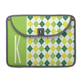 Green, Yellow, & White Argyle Sleeve For MacBook Pro