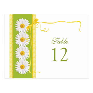 Green Yellow White Daisy Wedding Table Number Card