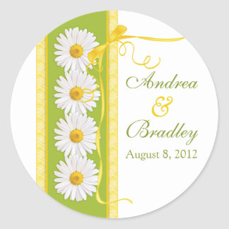 Green Yellow White Shasta Daisy Wedding Sticker