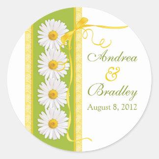 Green Yellow White Shasta Daisy Wedding Sticker