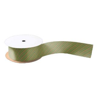 Green Yellow White Striped Grosgrain Ribbon