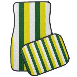 Green Yellow White Stripes Car Mats Floor Mat
