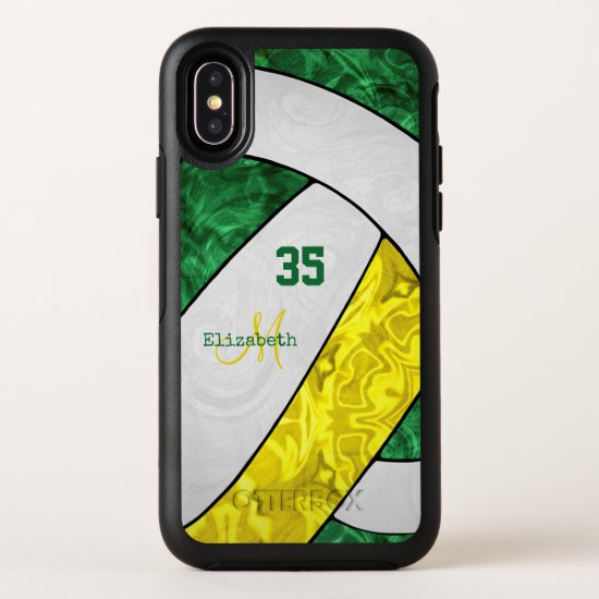 green yellow white team colors girls' volleyball OtterBox symmetry iPhone x case
