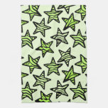 Green yellow zebra print stars kitchen towels