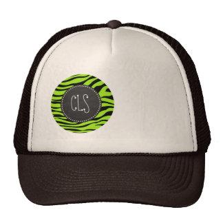 Green-Yellow Zebra Stripes Chalkboard look Mesh Hats