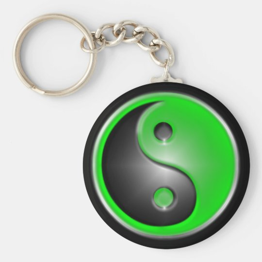 green yin and yang keychain