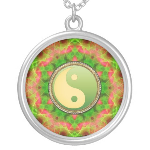 Green Yin Yang Geometric Aura Necklace