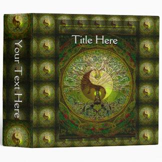 Green Yin Yang Mandala with Tree of Life 3 Ring Binder