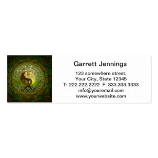 Green Yin Yang Mandala with Tree of Life Double-Sided Mini Business Cards (Pack Of 20)