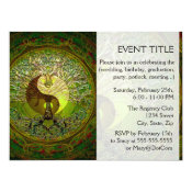 Green Yin Yang Mandala with Tree of Life Card (<em>$2.90</em>)