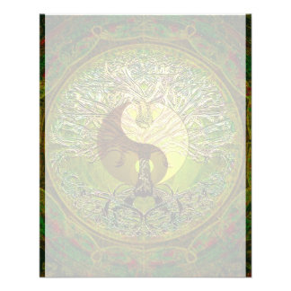 Green Yin Yang Mandala with Tree of Life Flyer