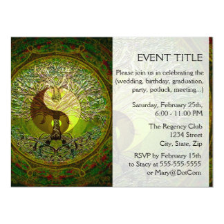 Green Yin Yang Mandala with Tree of Life Custom Announcement